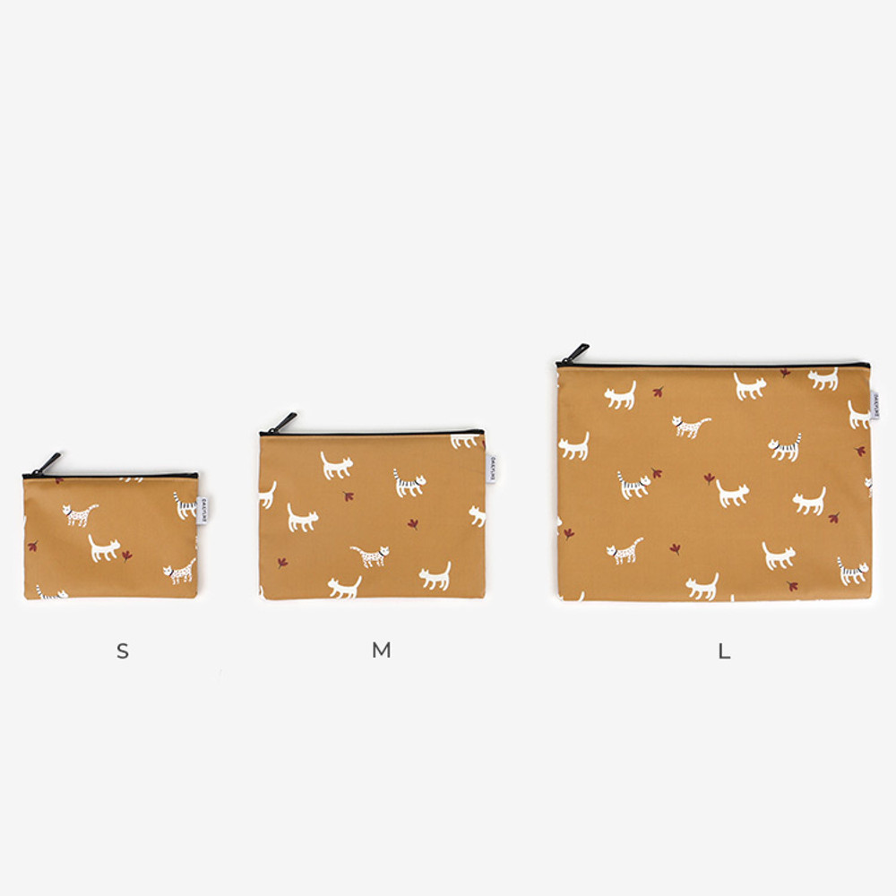 Size - Laminated cotton fabric zipper pouch - Alley cat