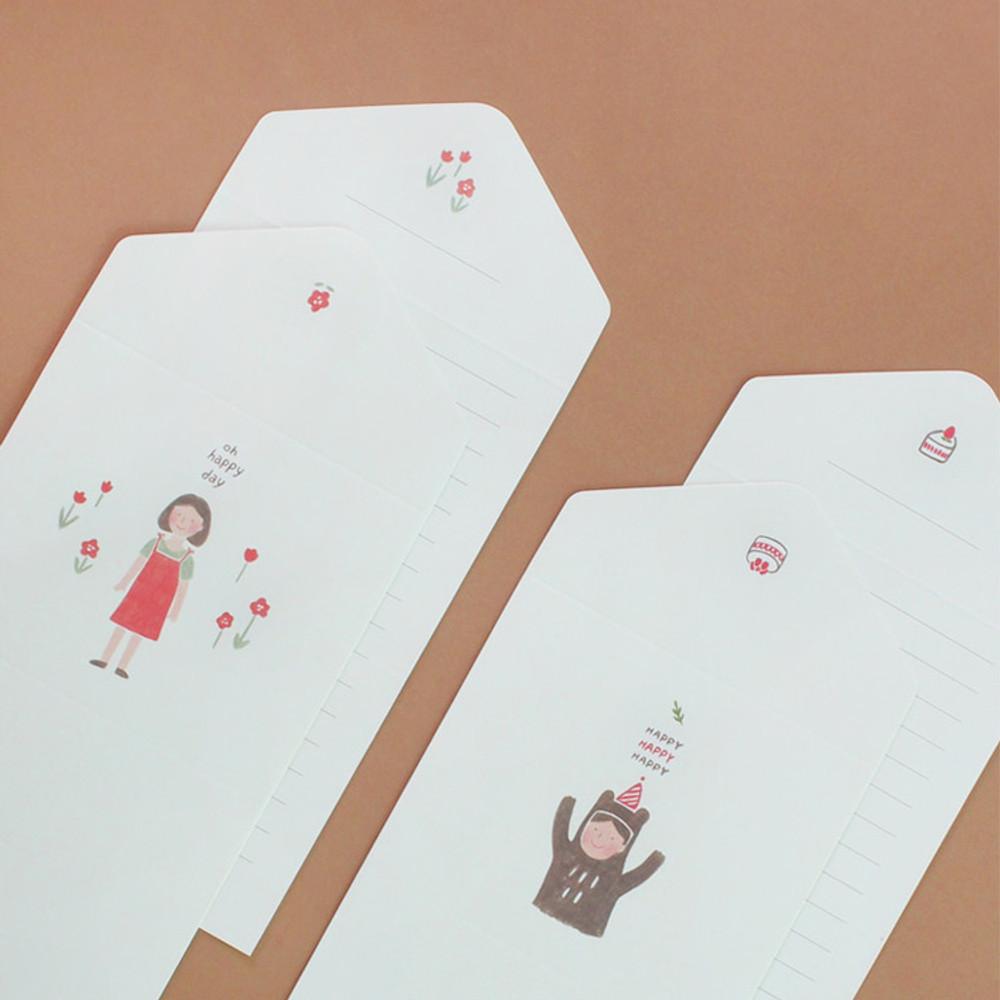 Happy folded letter card set