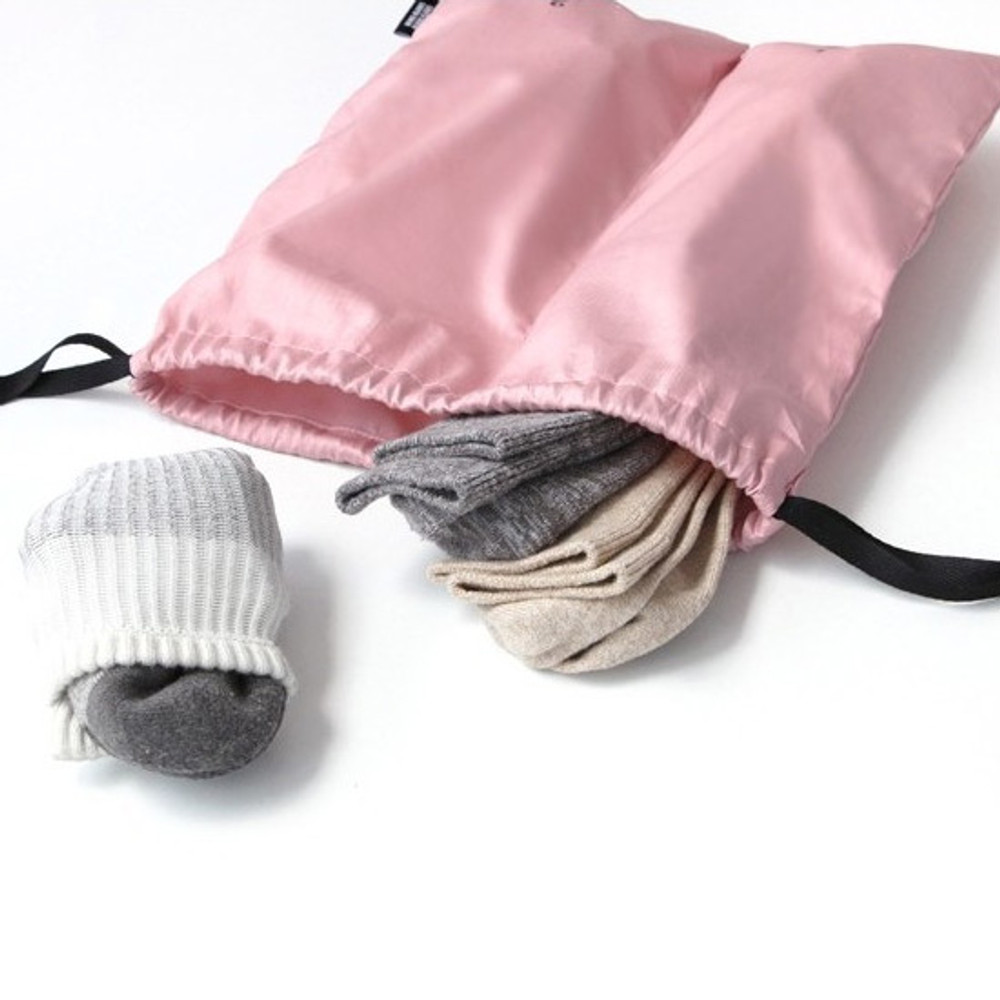Pink - Split travel divided cotton drawstring pouch