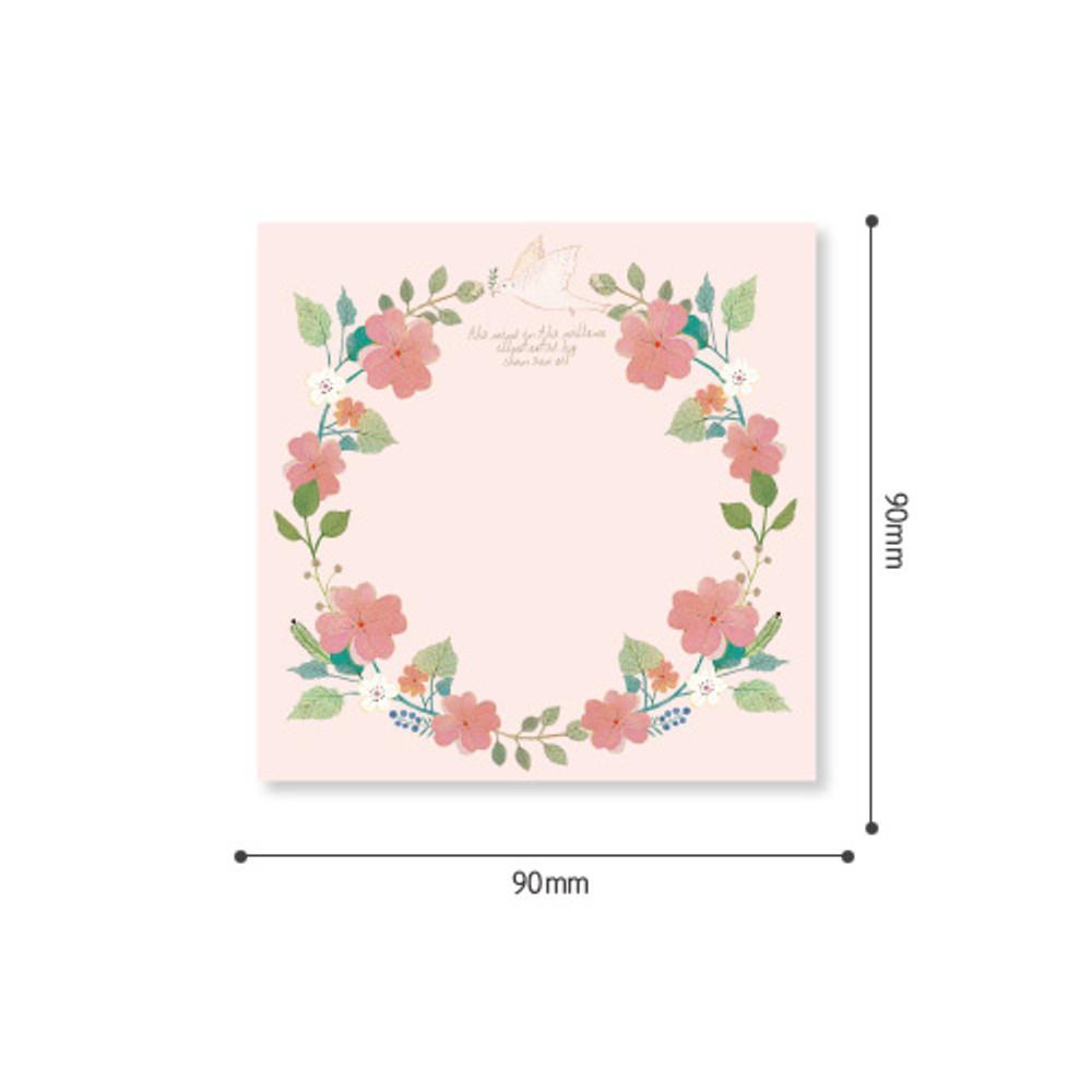 Size - Indigo Willow flower pattern memo notepad
