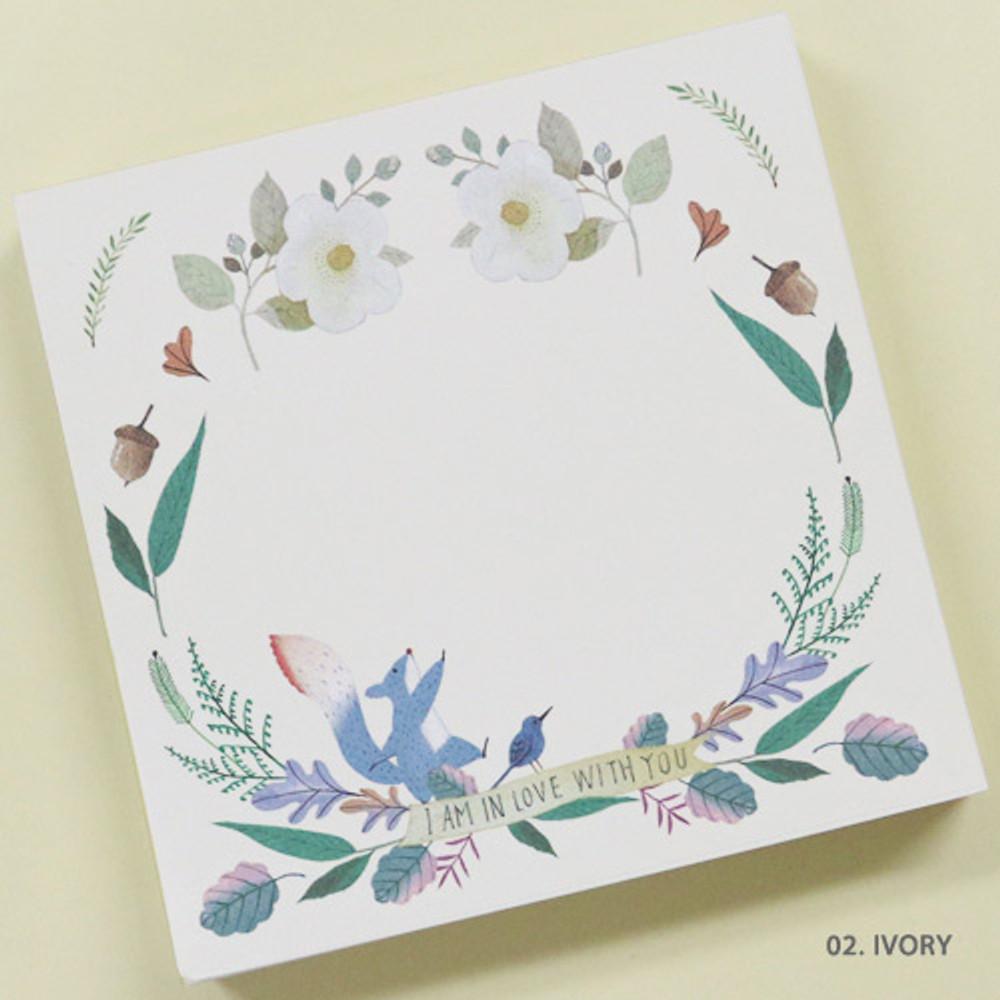 Ivory - Indigo Willow flower pattern memo notepad