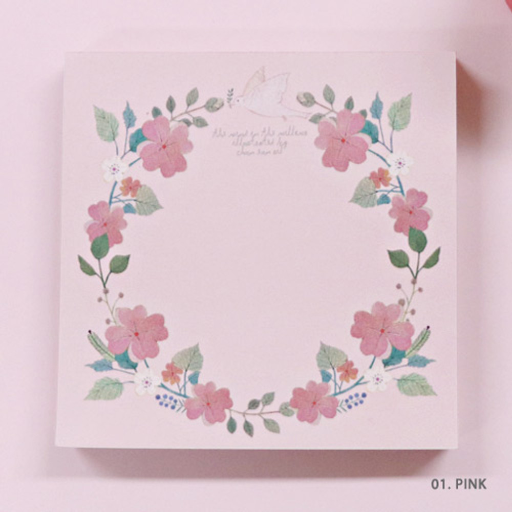 Pink - Indigo Willow flower pattern memo notepad
