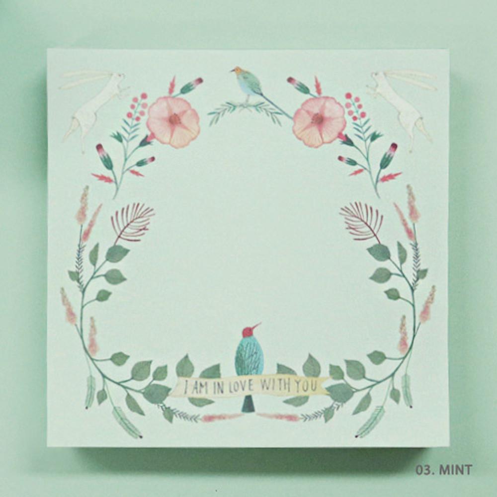 Mint - Indigo Willow flower pattern memo notepad