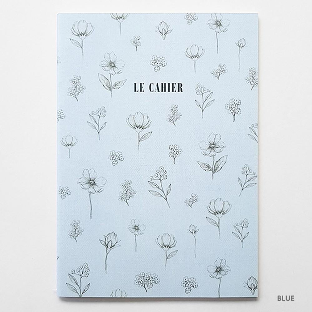 Blue - O-check Le cahier floral medium dot grid notebook