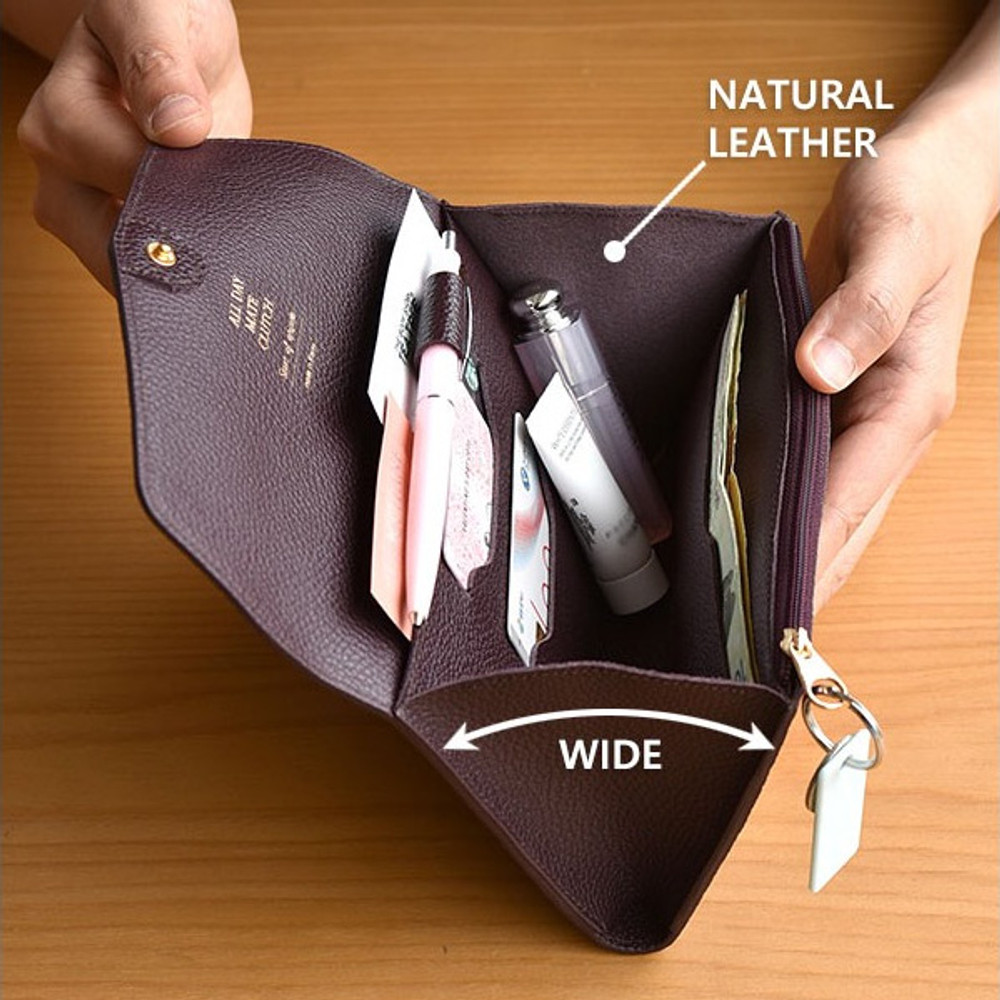 Natural leather - Allday mate genuine cowhide leather clutch wallet