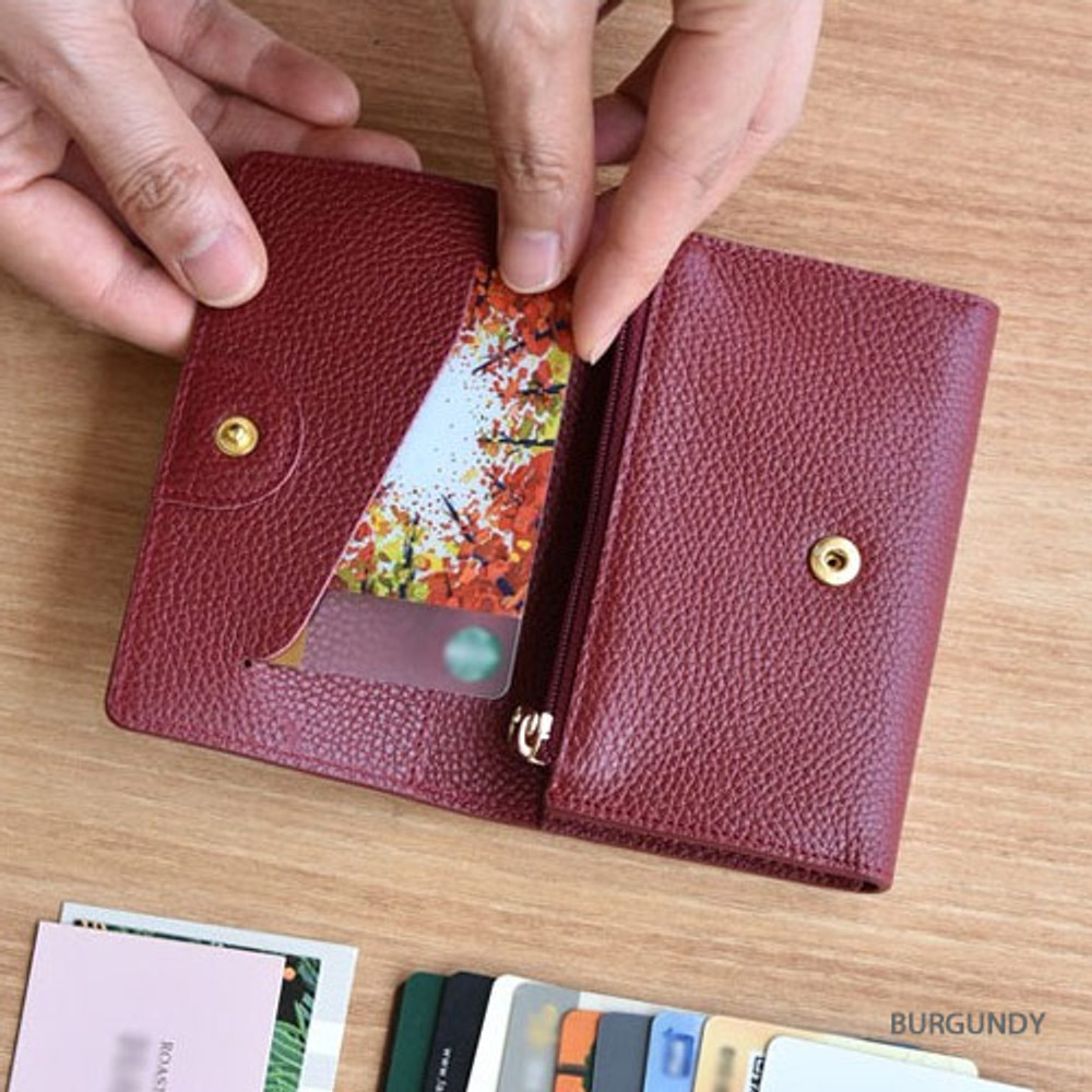 Burgundy - Allday genuine cowhide leather card wallet