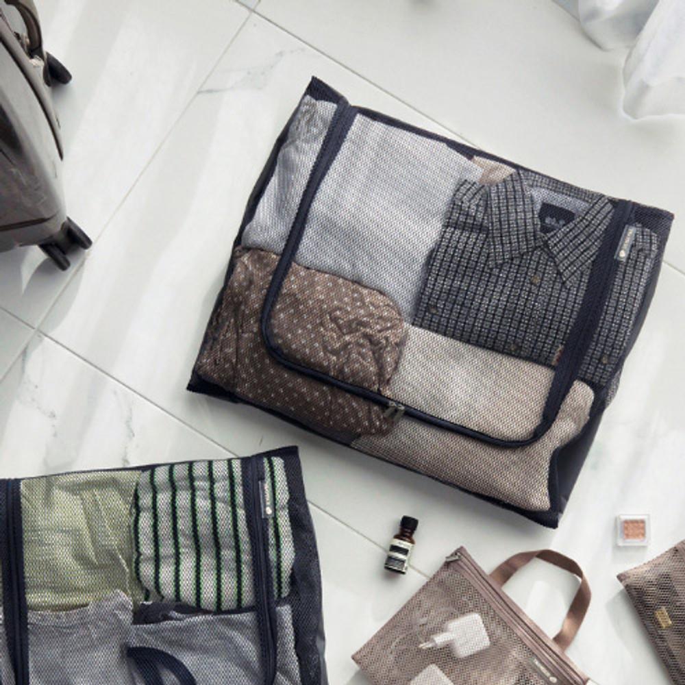 Charcoal gray - Travelus mesh packing organizer bag XXL ver3