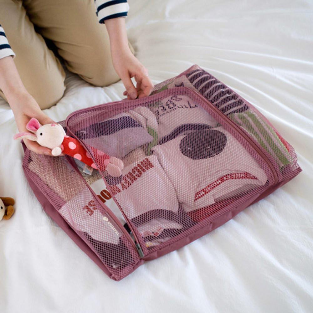 Indi pink - Travelus mesh packing organizer bag XXL ver3