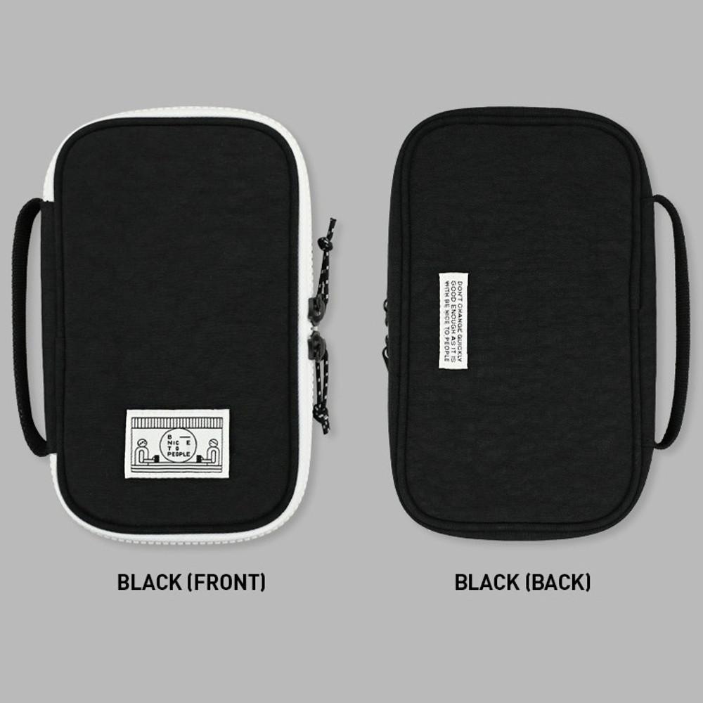 Black - Washer multi zip around pouch