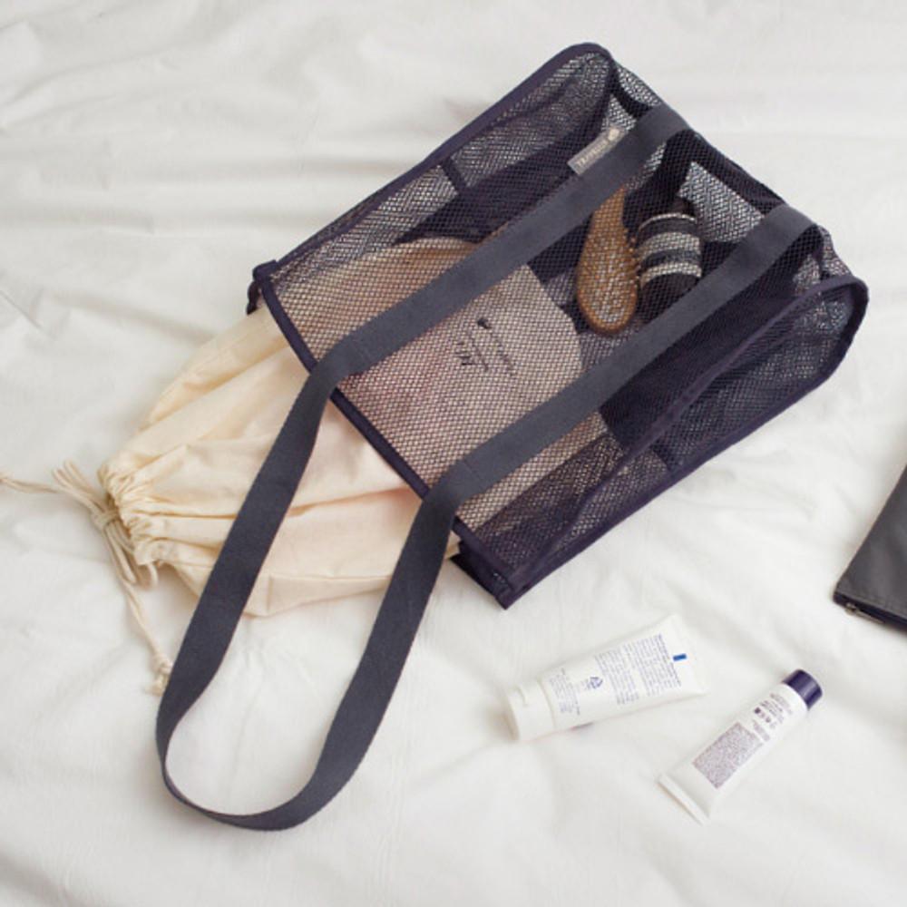 Charcoal gray -  Travelus mesh shoulder tote travel bag