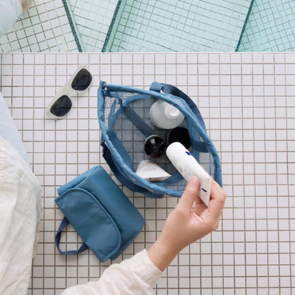 Blue gray - Travelus mesh bucket tote travel bag