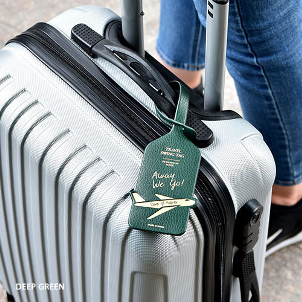Deep green - Away we go travel swing luggage name tag