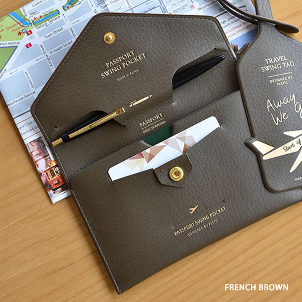 French brown - Away we go swing RFID blocking passport case