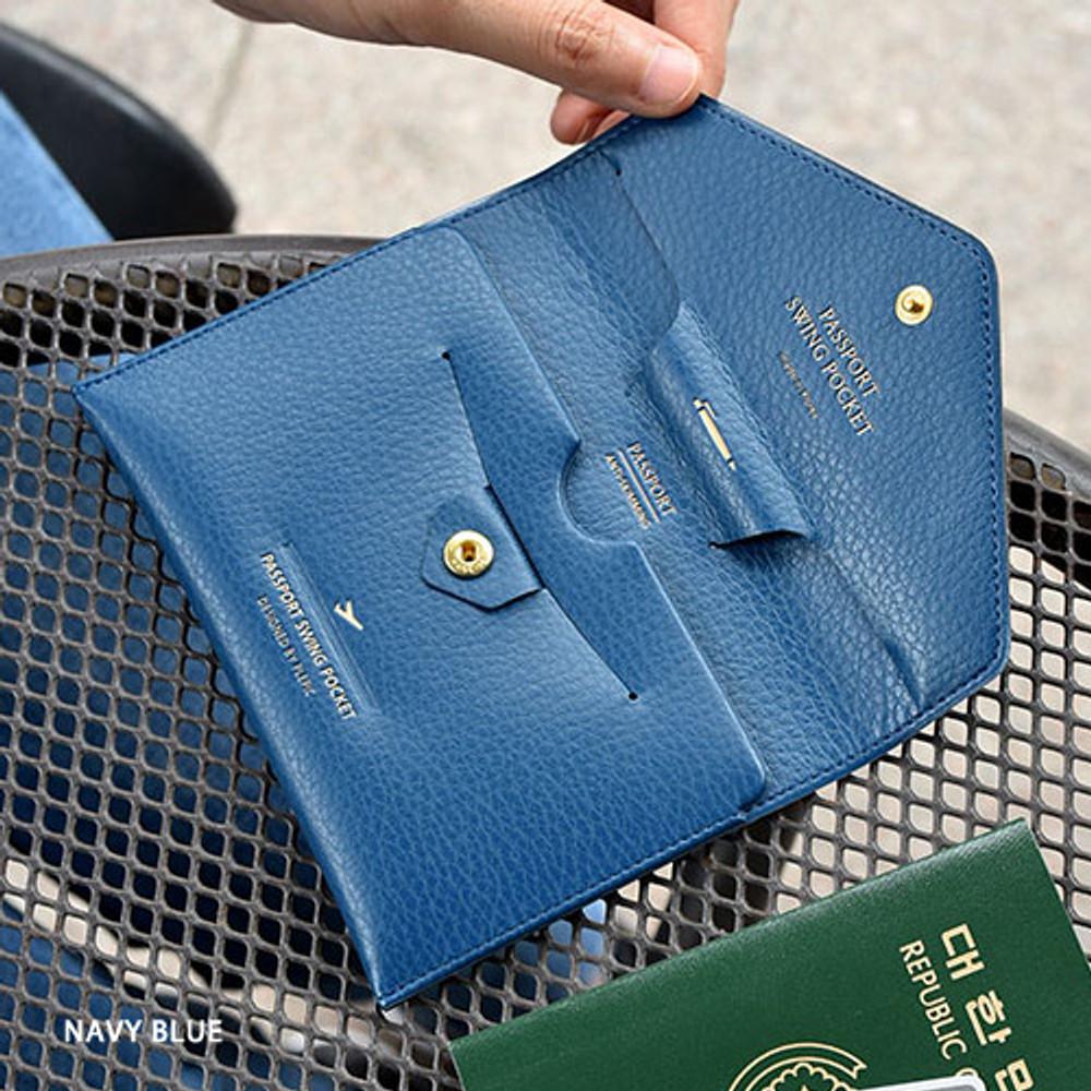 Navy blue - Away we go swing RFID blocking passport case