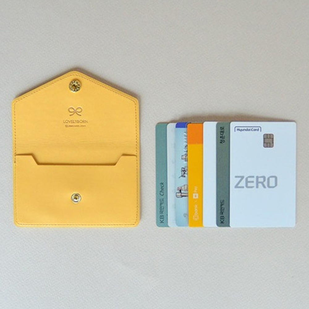 Mint yellow - Lovelyborn synthetic leather card case holder