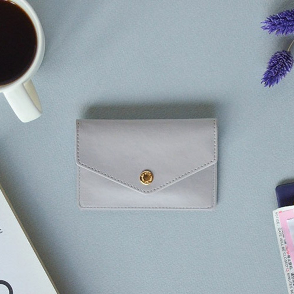 Cool gray - Lovelyborn synthetic leather card case holder