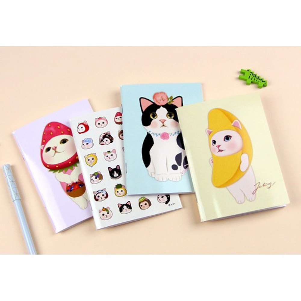 Choo Choo cat small lined and grid notebook ver2
