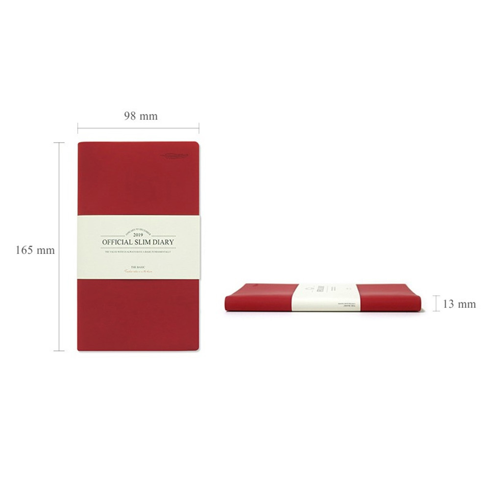 Size - The Basic official slim undated weekly diary