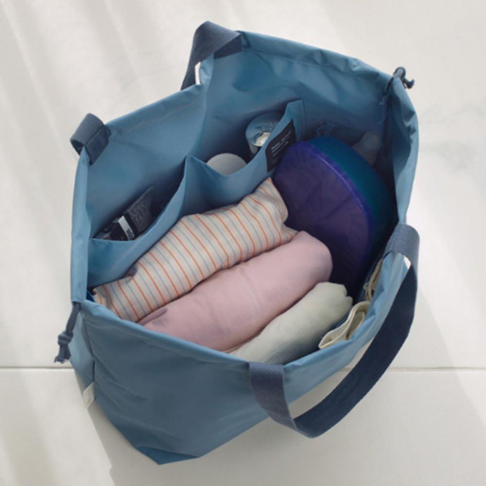 Blue gray - Travelus travel pocket drawstring shoulder tote bag