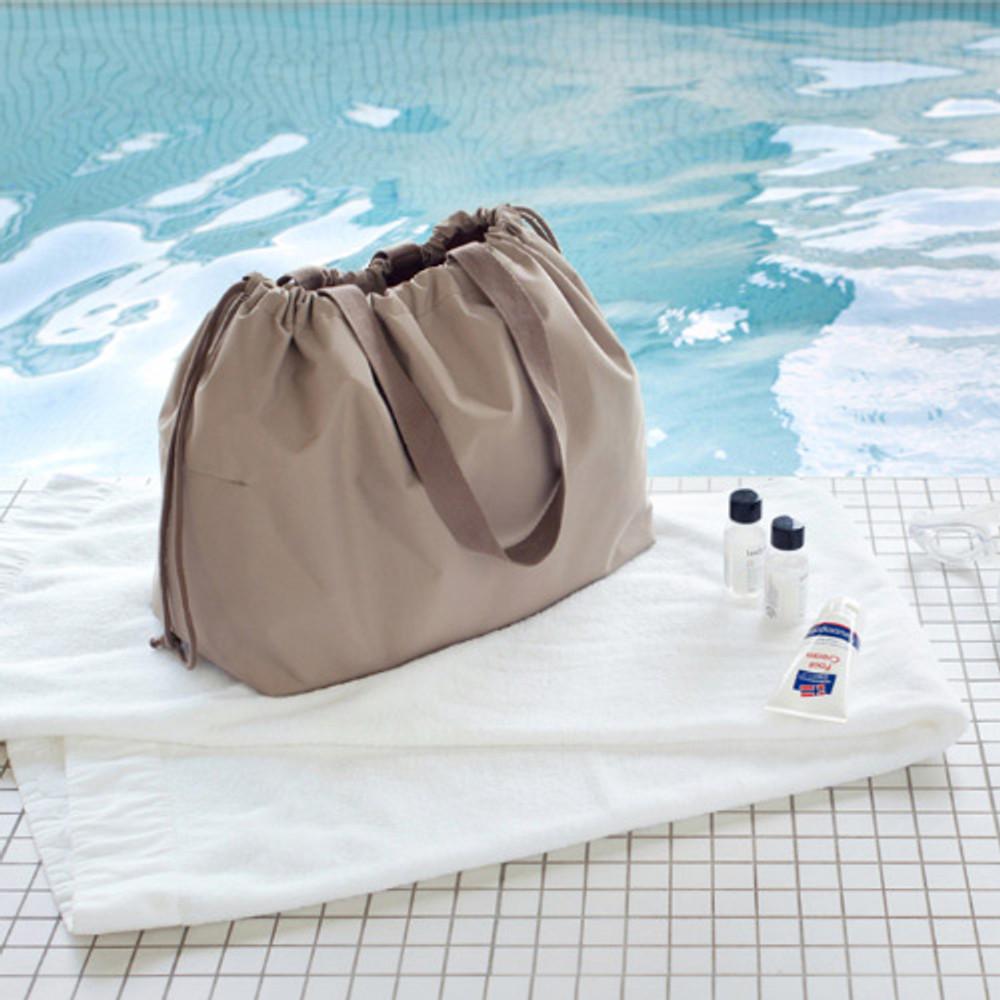 Beige - Travelus travel pocket drawstring shoulder tote bag