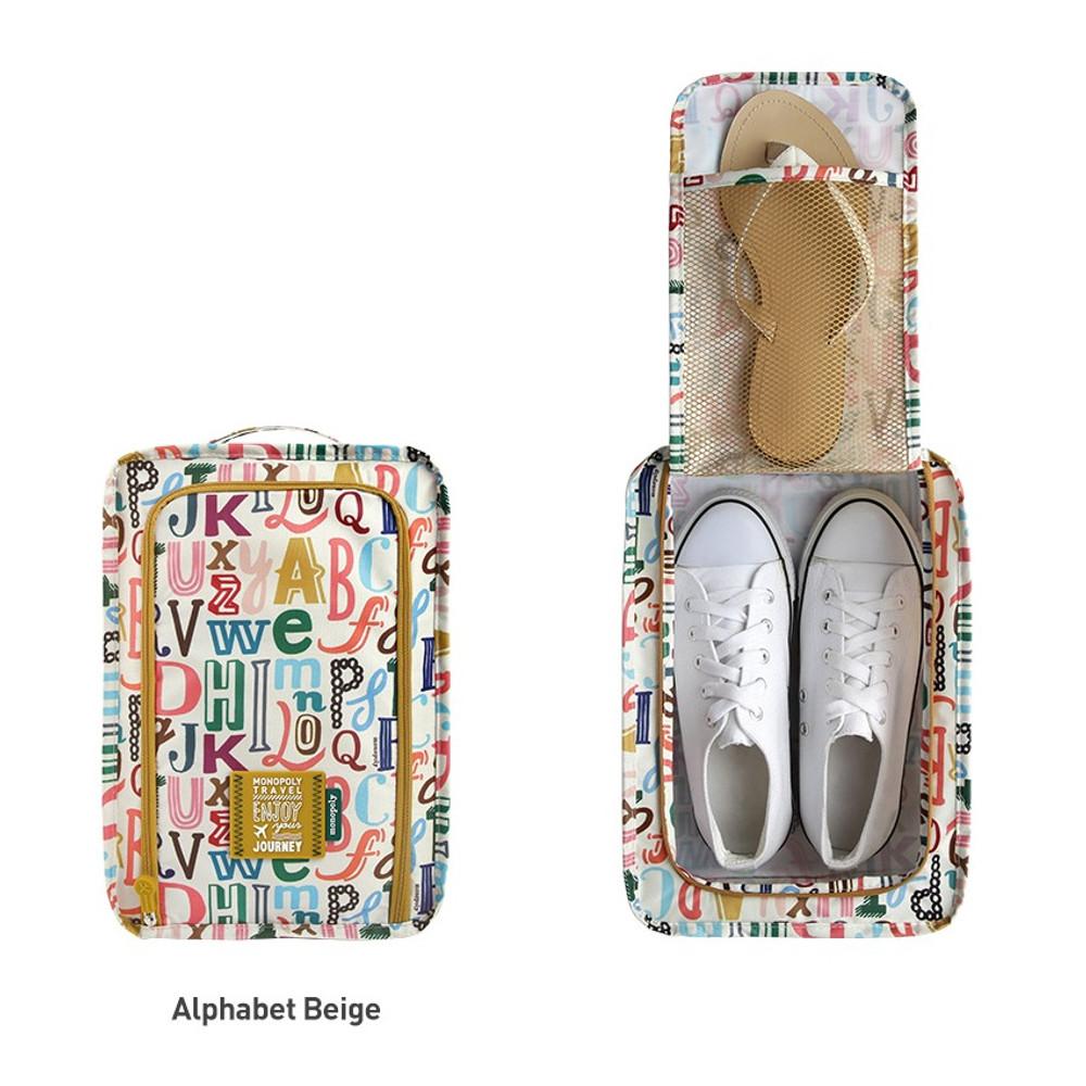 Alphabet beige - Monopoly Enjoy journey travel zip shoes pouch bag