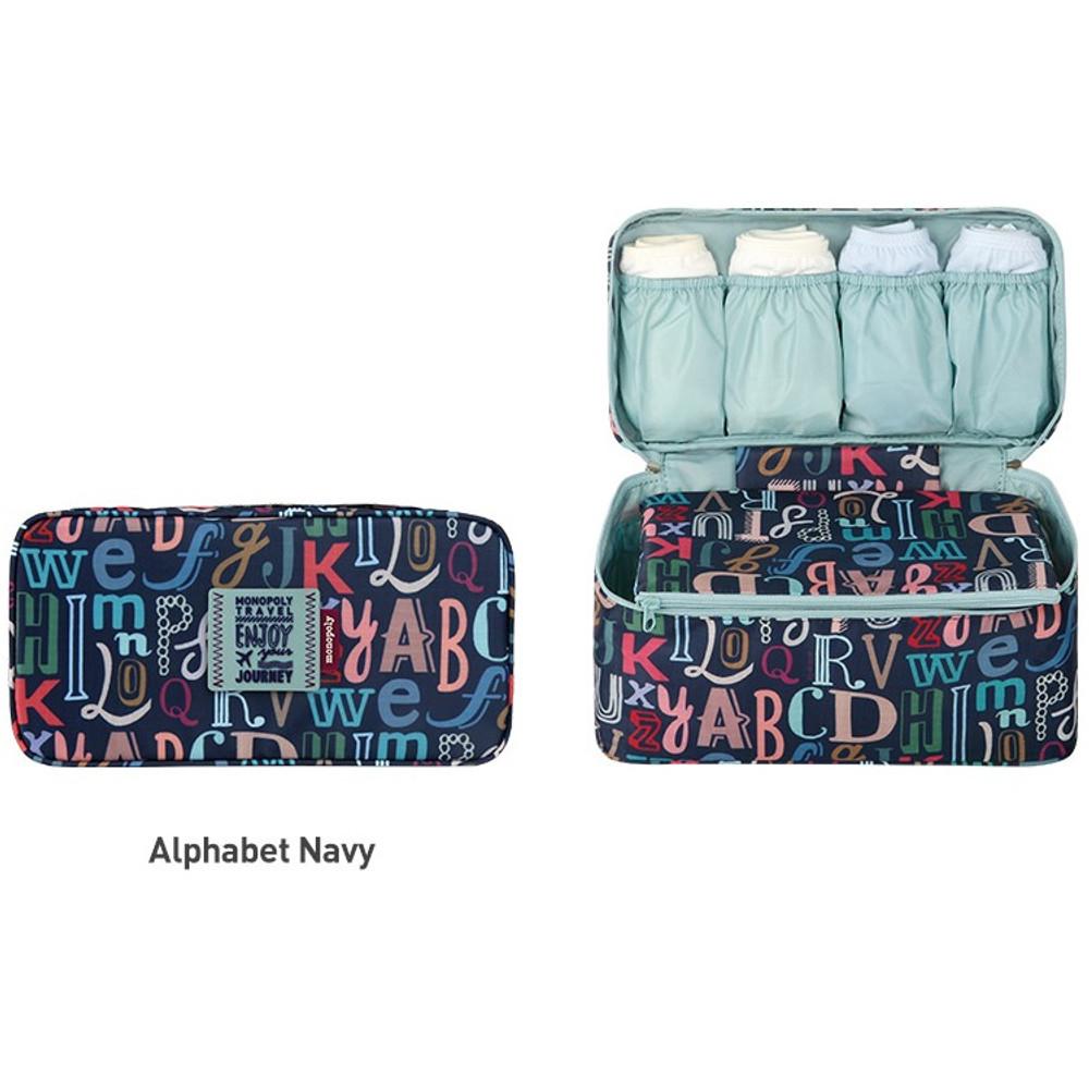 Alphabet navy - Monopoly Enjoy journey travel pouch bag for underwear and bra
