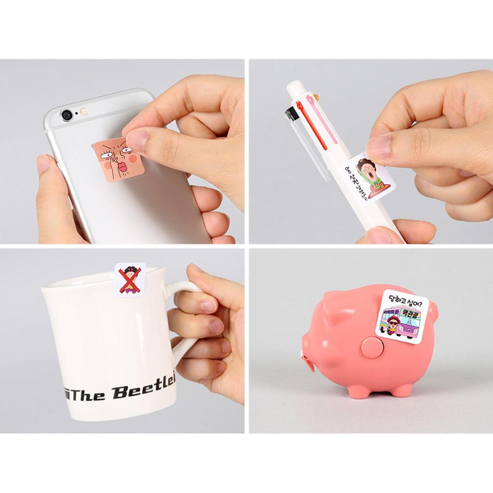 Usage - Naemi cute emoticon PVC sticker
