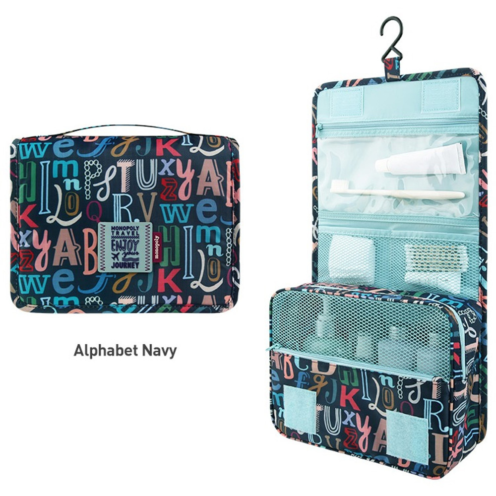 Alphbet navy - Enjoy journey large travel hanging toiletry pouch bag