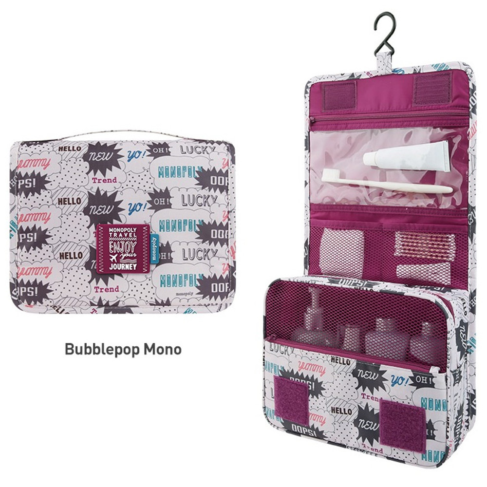 Bubblepop mono - Enjoy journey large travel hanging toiletry pouch bag