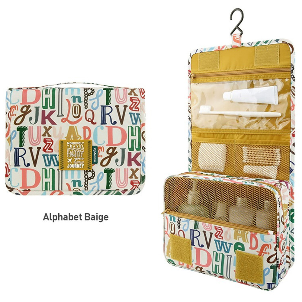 Alphabet beige - Enjoy journey large travel hanging toiletry pouch bag