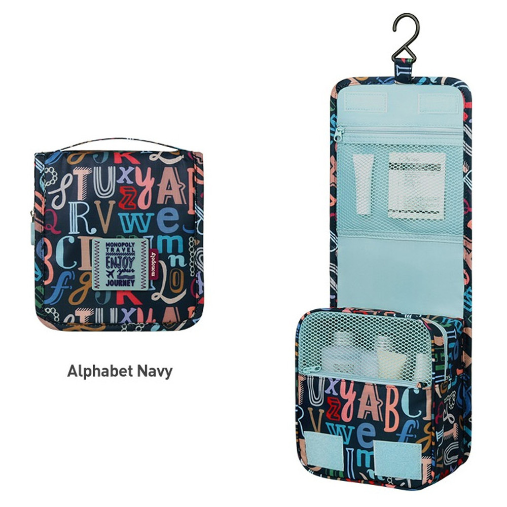 Alphabet navy - Monopoly Enjoy journey small travel hanging toiletry pouch bag