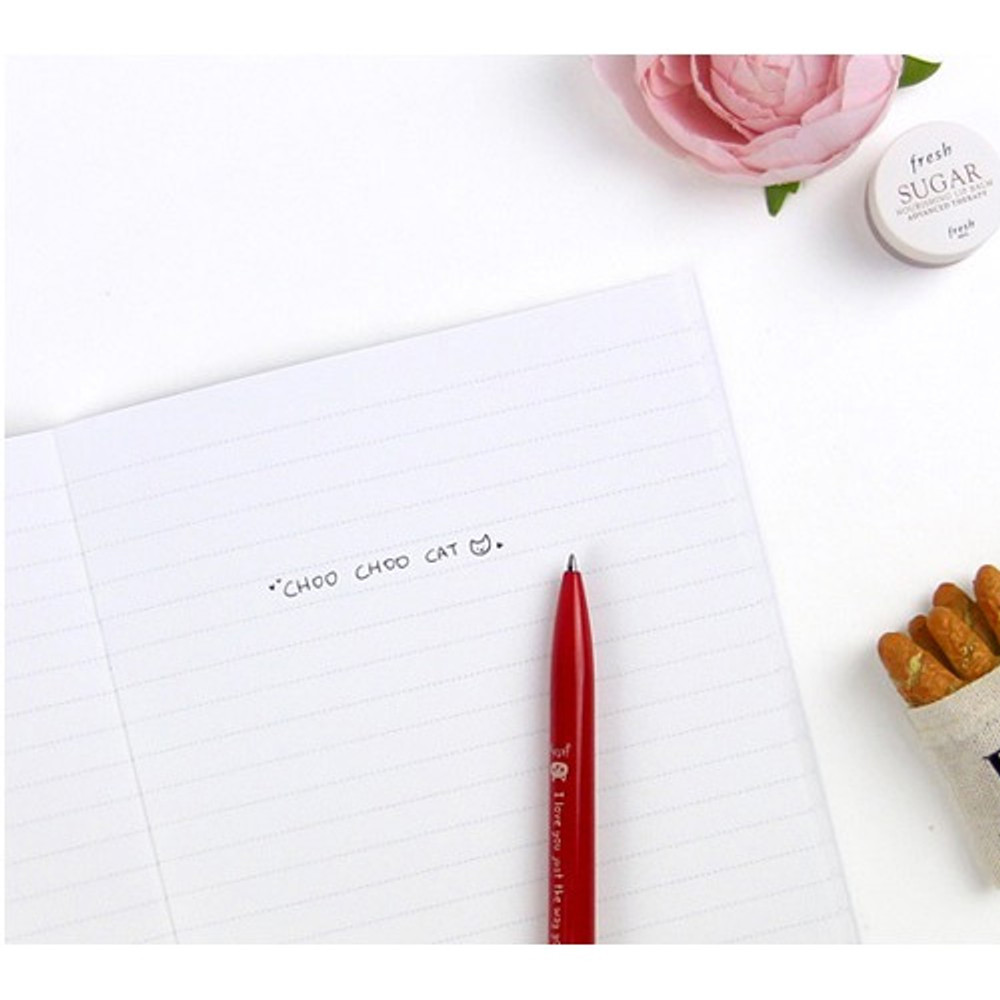 Lined notebook - Choo Choo cat A5 ruled lined notebook ver2