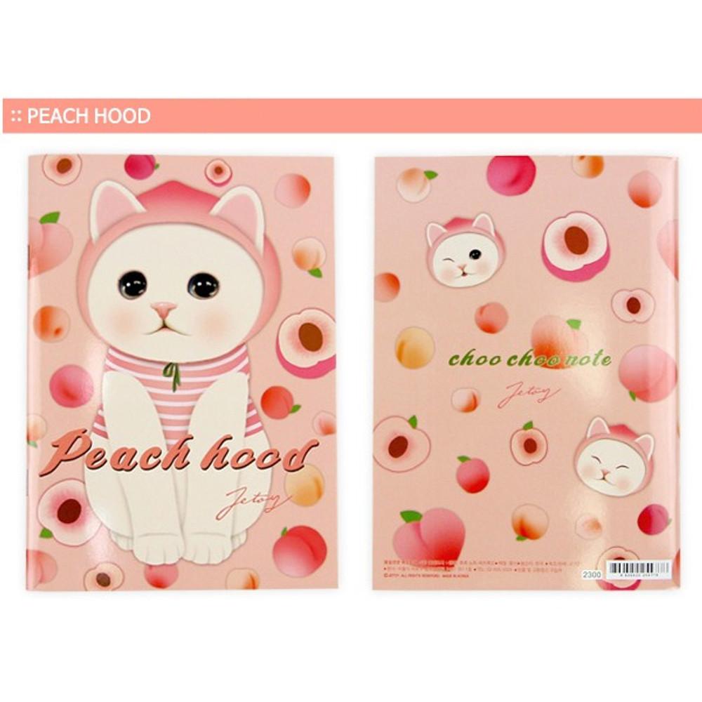 Peach hood - Choo Choo cat A5 ruled lined notebook ver2