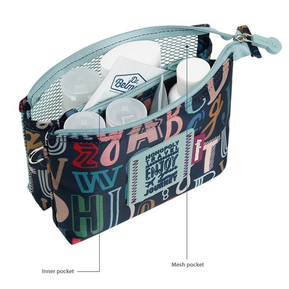 Monopoly Enjoy journey travel small mesh zipper pouch