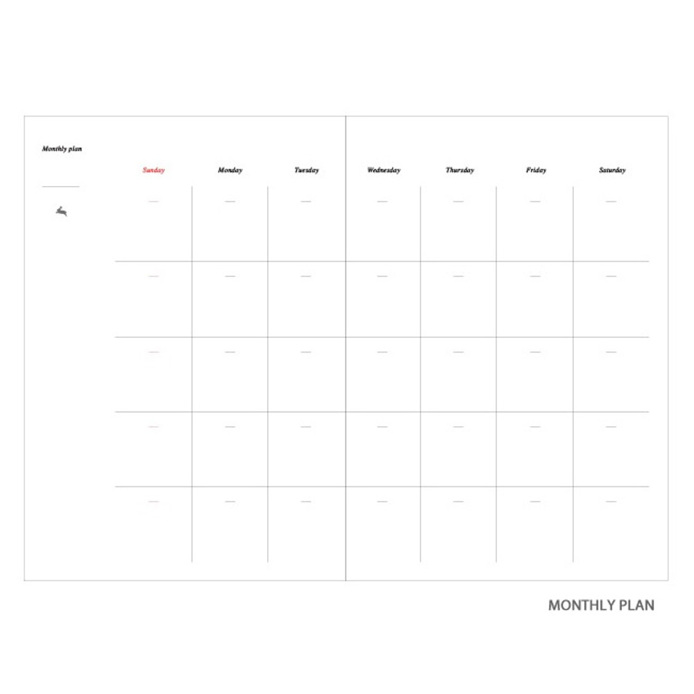 Monthly plan - Moon rabbit hardcover undated weekly diary planner