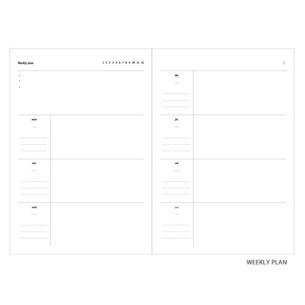 Weekly plan - Moon rabbit hardcover undated weekly diary planner