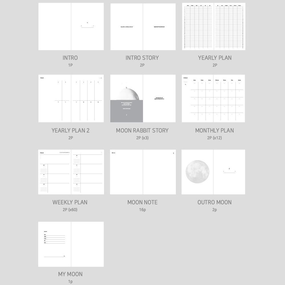 Composition - Moon rabbit hardcover undated weekly diary planner