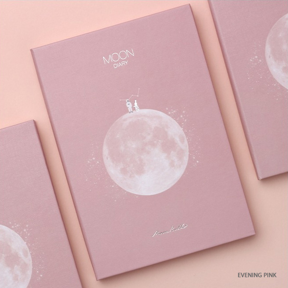 Evening pink - Moon rabbit hardcover undated weekly diary planner
