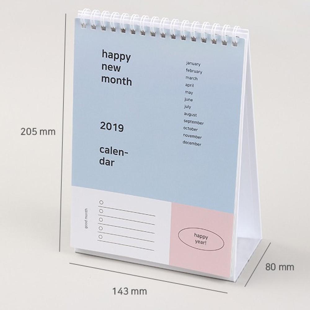 Size of 2019 Happy spiral bound color desk calendar