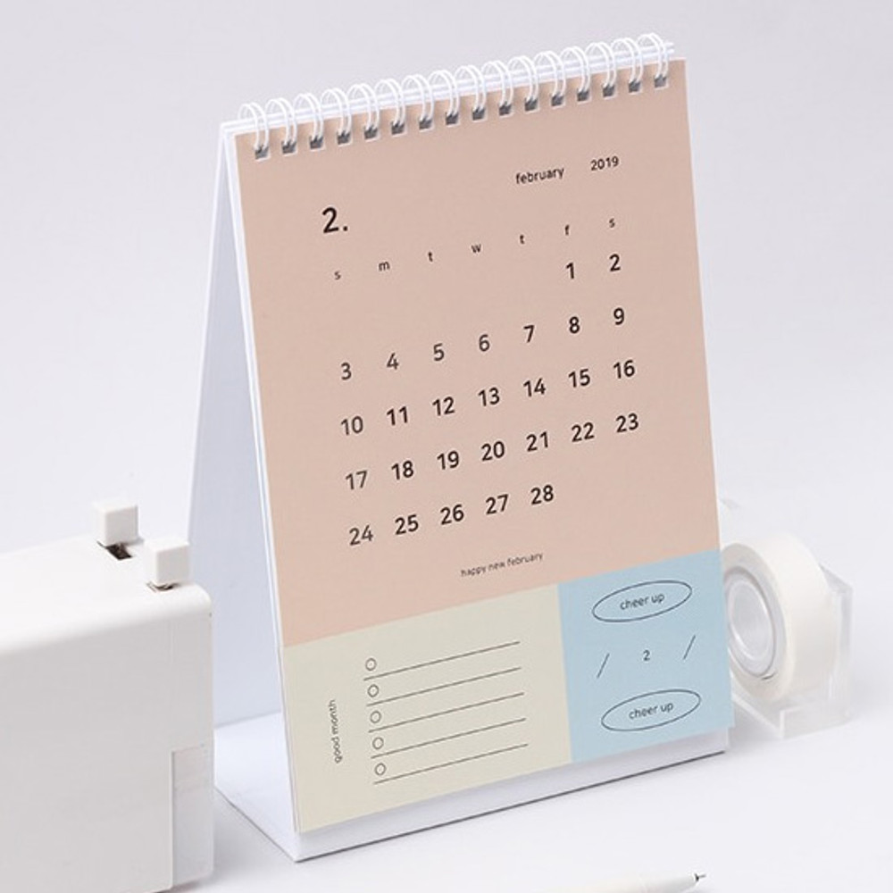 2019 Happy spiral bound color desk calendar