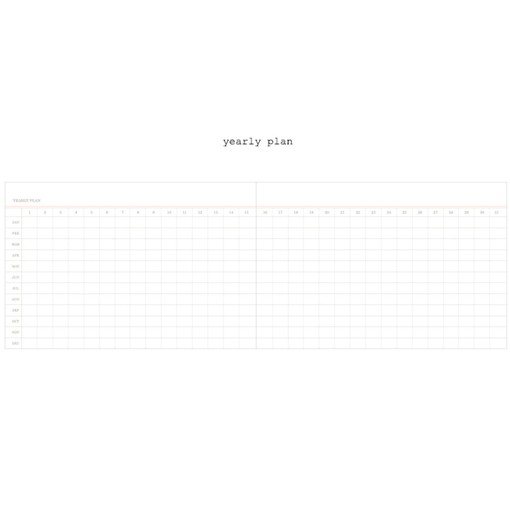 Yearly plan - Moment undated weekly planner scheduler