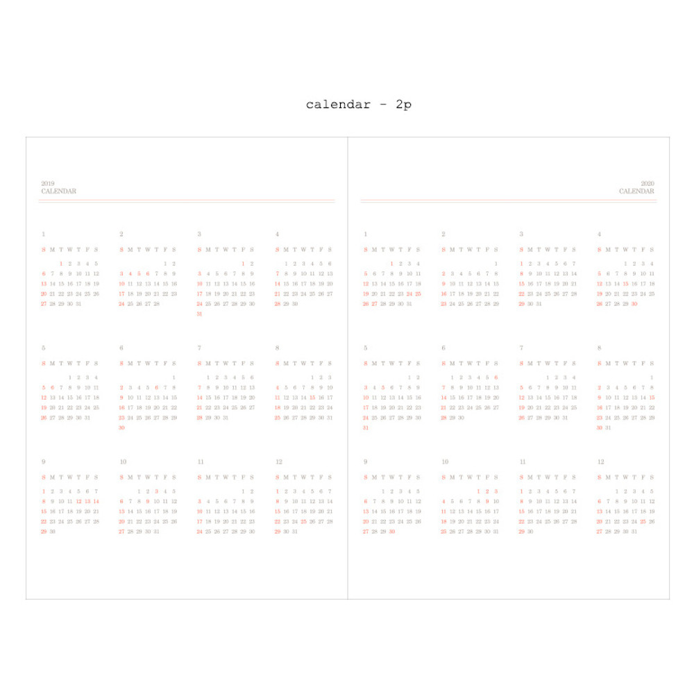 Calendar - 2019 Moment dated weekly diary