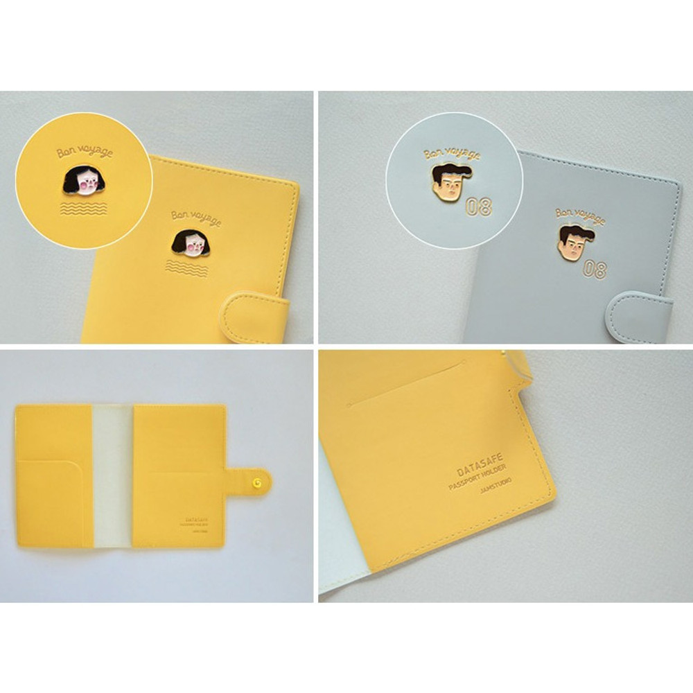 Detail of Du dum RFID blocking passport case holder