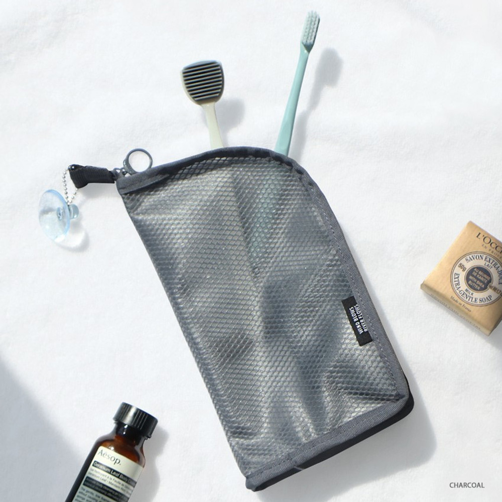 Charcoal - ICONIC Travel standing zipper toiletry pouch bag