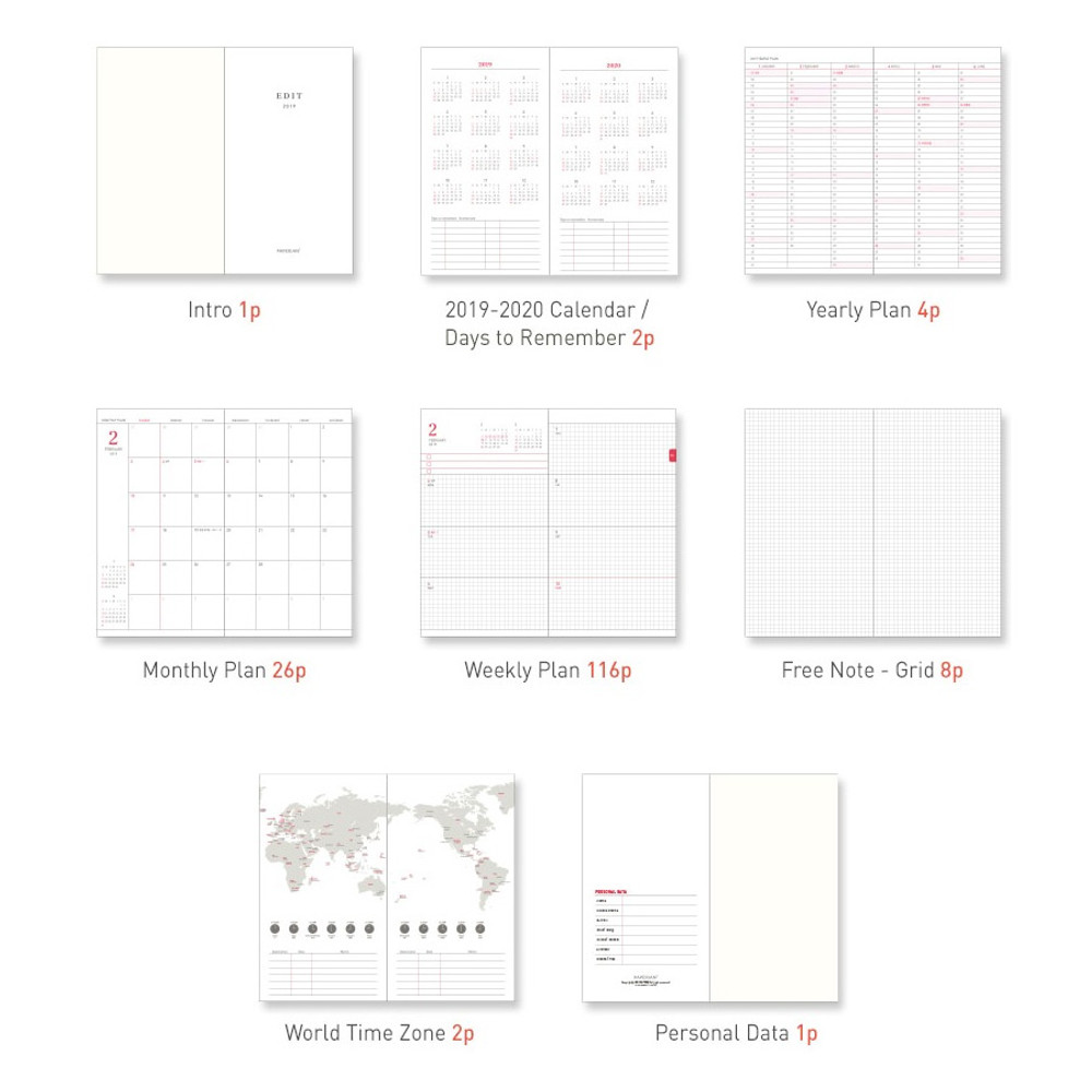 Composition - Paperian 2019 Edit small dated weekly diary planner