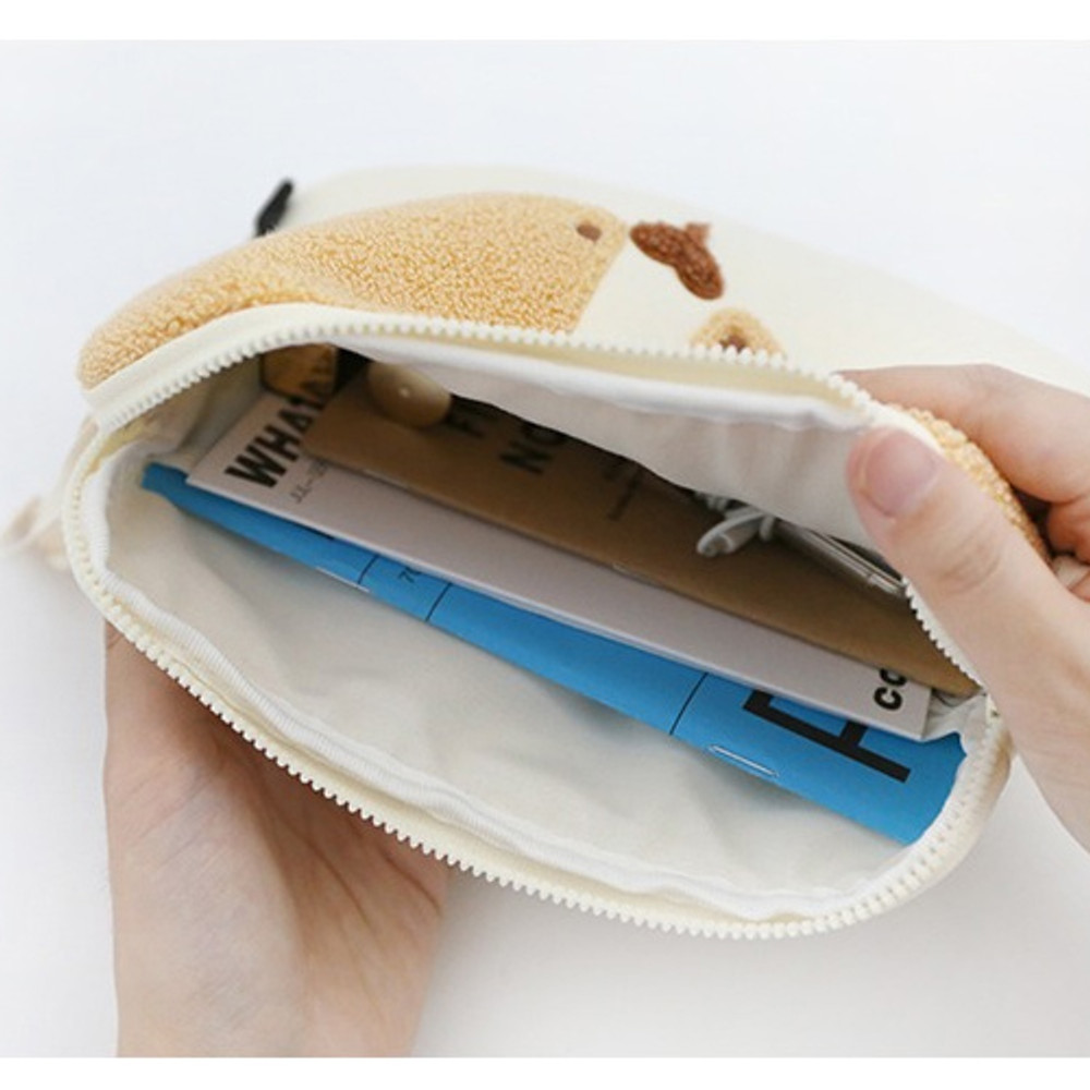 ROMANE My rolly face cotton zipper pouch