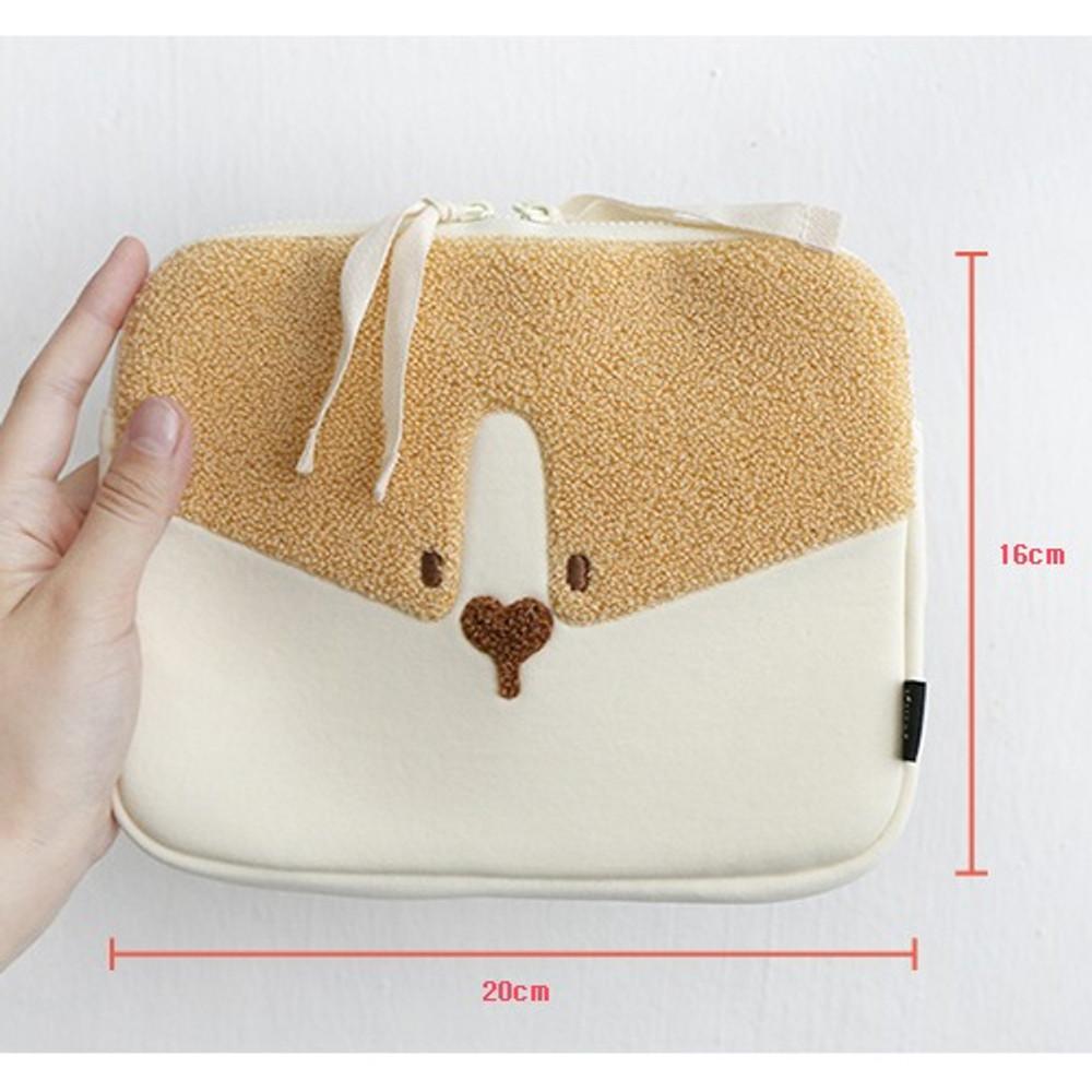 Size - ROMANE My rolly face cotton zipper pouch