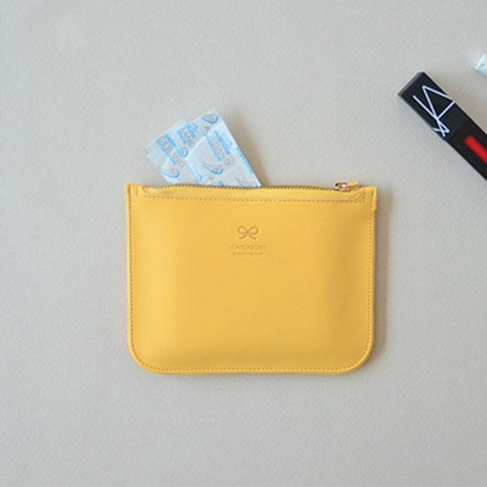 Mint yellow - Lovelyborn daily zipper flat small pouch