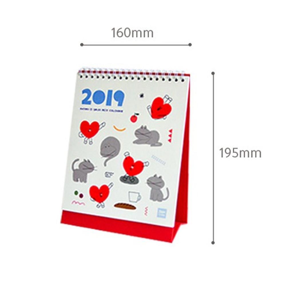 Size of 2019 Heart spiral bound desk calendar