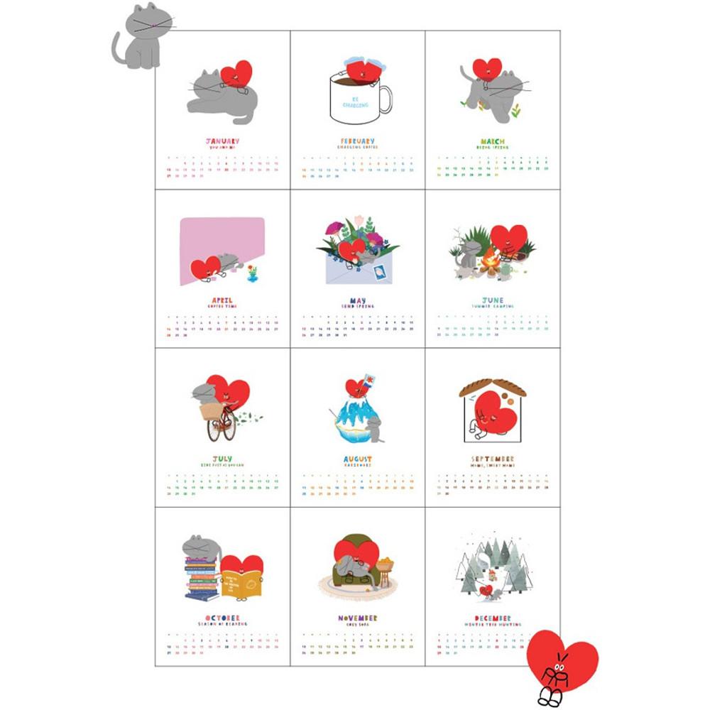 Composition - 2019 Heart spiral bound desk calendar